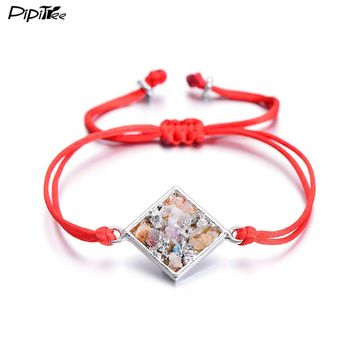PiPitree Rope Braided Geometric Charm Bracelet Femme Gravel Natural Stone Jewelry Red String Bracelets & Bangles for Women Girls