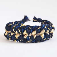 Navy blue woven chain bracelet, chunky chain bracelet, chunky bracelet
