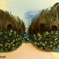 The Peacock Swan Bra Custom Size by ArtByGirl on Etsy
