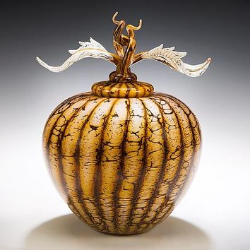 Batik Acorn Vessel with Avian Finial by Danielle Blade Stephen Gartner: Art Glass Vessel | Artful Home