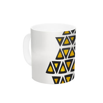 "Pom Graphic Design ""Inca Tribe"" Gold White Ceramic Coffee Mug"