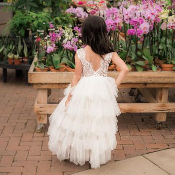 Blanche Ivory Flower Bodice and Tulle Layers Gown Dress