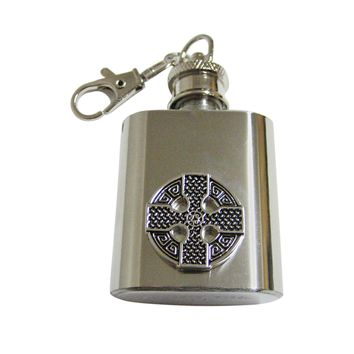 Round Celtic Cross Design 1 Oz. Stainless Steel Key Chain Flask