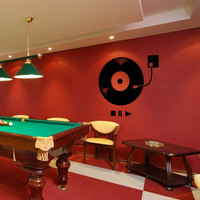 Vinyl Wall Decal Sticker Record Player #OS_MB929