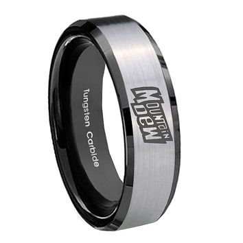 8MM Silver Black Bevel Edges Mountain Dew Tungsten 2 Tone Laser Engraved Ring