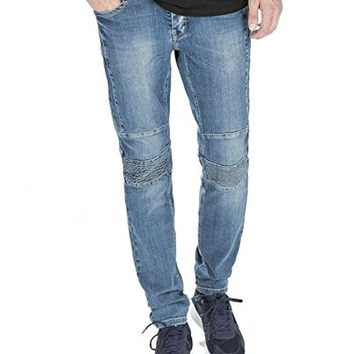 Men's Denim Biker Jeans Slim Skinny Low Tapered Fit Casual Pants (38, Blue )