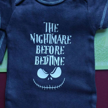 Hand Dyed Infant BodySuit, Halloween BodySuit, First Birthday, Photo Prop, Personalized BodySuit,A Nightmare Before Bedtime, Halloween