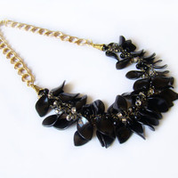 Multistrand beaded necklace Crochet airy necklace Chain jewelry Black golden necklace Christmas gift  women Levels necklace Gothic necklace
