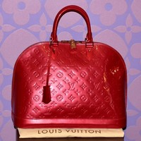 Louis Vuitton Monogram Vernis ALMA GM Red Pomme D'Amour Bag *RARE LIMITED* WOW!!