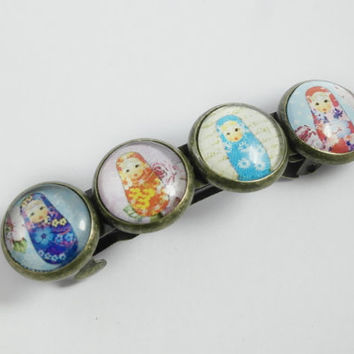 French Barrette, Hair Barrette, Girls Hair Clip, Russian Dolls, Hair Accessories, Babushka, Matryoshka, Hair Pins, Hair Slide,Christmas Gift