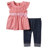 Little Lass Flower Eyelet Tunic & Capri Jeggings Set - Baby