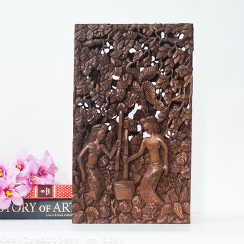 Wall Hanging Wooden Panel, Vintage Bali Carved Wood Wall Sculpture / Statue, Hanging Wall Art Plaque, Three Dimensional Wall Decor
