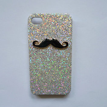 Handmade Bling case with Beard cell phone case for iPhone 4 and iphone 4s cover