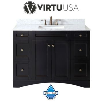 """Elise 48"""" Single Bathroom Vanity with Marble Top and Square Sink"""