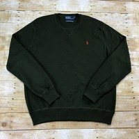 Polo by Ralph Lauren Army Green Cotton Sweater Mens Size XL