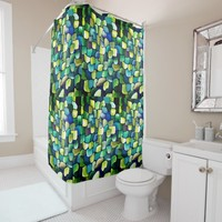 Deco green pattern shower curtain