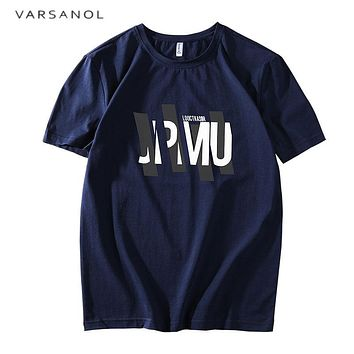 Men's T shirts Cotton Top Casual Short Sleeves O Neck Printing Letter