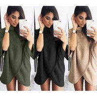 Pagoda Sleeve Irregular High Neck Sweater Coat