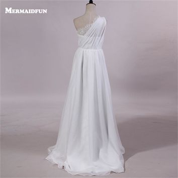 2017 Real Photos Bohomian Style One Shoulder Chiffon Lace Beach Wedding Dresses Custom Made New Bridal Gown