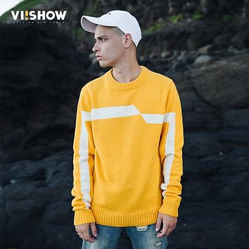 VIISHOW 2017 New Sweaters Men Brand Clothing Fashion Mens Pullover Quality Yellow White Striped Knitted Sweater Male ZC2314173