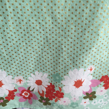 Baby Girl Blanket, Mint and Gold Baby Blanket, Floral Bedding, Crib Blanket, Minky Girl Blanket, Ready to Ship