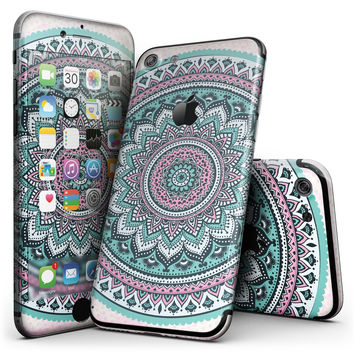 Green and Pink Circle Mandala v9 - 4-Piece Skin Kit for the iPhone 7 or 7 Plus