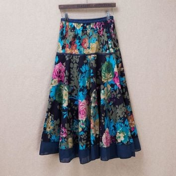 Free shipping Ladies Fashion Skirt Patchwork Floral Women Skirts Beautiful Colour Red Navy New Prining Long Retail Wholesale