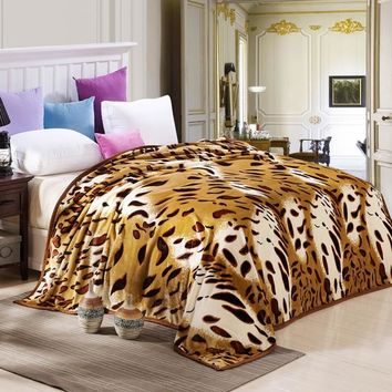 Home Textiles Sleep Leopard Blanket Sofa Bed Airplane Travel Plaids bed sheet Bedspreads Bedding twin full queen king size throw