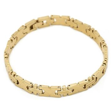 Gold Layered Solid Bracelet, Hugs and Kisses Design, Tri Tone