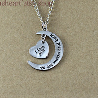 I love you to the moon and back necklace, Heart Necklace,moon necklace, i love you necklace, bestfriends necklace, His & Hers Jewelry