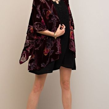 Call Me Stevie Black Floral Burnout Velvet 3/4 Sleeve Open Kimono Top (Pre-Order)