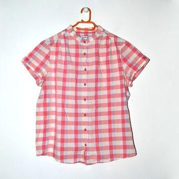 Lacoste Plaid Collarless Shirt Short Sleeve Button Up 90s Grunge Checkered Ckecked Che