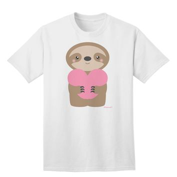 Cute Valentine Sloth Holding Heart Adult T-Shirt by TooLoud