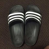 ADIDAS fashion stripe slippers converse slippers Black