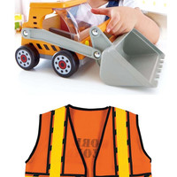 Hape 3012 Great Big Digger Toy Truck with Kids Construction Vest