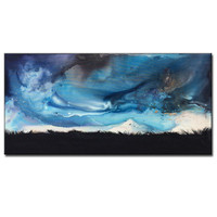 Original landscape Abstract painting,Storm cloud painting ,Nature ,dusk, valley, Contemporary Gallery Fine Art by Henry Parsinia 48x24