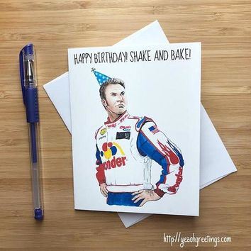 Talladega Nights Will Ferrell Ricky Bobby Shake and Bake Happy Birthday Card FREE SHIPPING