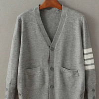 Striped Buttons Cardigan