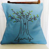 Personalized Family Tree Pillow Cover. Hand Embroidery.  Mothering Sunday.  Light Blue 16 inch.   Slate Blue.