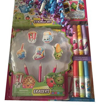 Shopkins Gift Pack- Giant Coloring Book, Sticker Sets, Sparkle Stickers, Markers and Playing Cards
