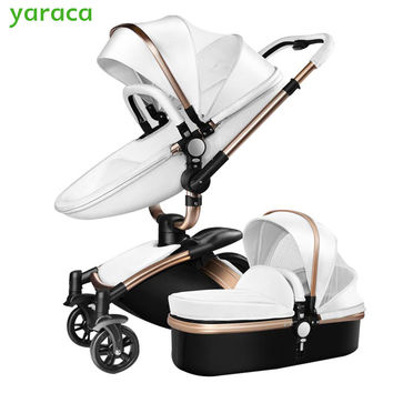 2 in 1 Luxury Baby Stroller With Separate Carrycot Black Frame 360 Degree Rotation Baby Carriage High-landscape Pram