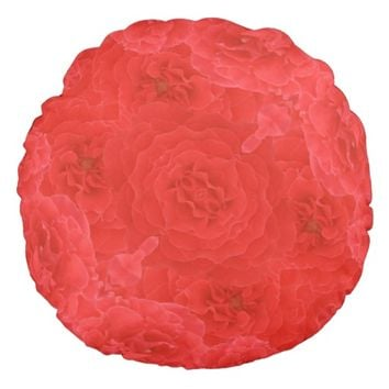 Stunning Rich Red Velvet Rose Blossoms Fusion Round Pillow