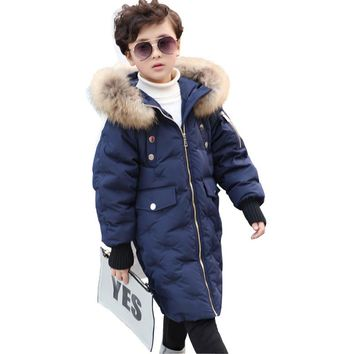 Winter Kids Jacket Boys and Girls White Duck Down Coat with Natural Raccoon Fur Hooded Children Outerwear Coat Warm Parka DQ586