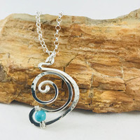 Sterling Silver .925 wire wrapped pendant, artistic necklace, swirl jewelry jewelry, turquoise jewelry, fashion jewelry, designer jewelry