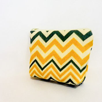 Fabric Zipper Pouch Cosmetic Pouch Pencil Case Yellow and Grey Chevron