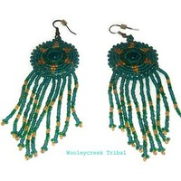 Teal Starburst Beaded Earrings With Fringe