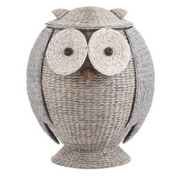 Boho Owl Wicker Laundry Basket Nursery Toys Home Storage