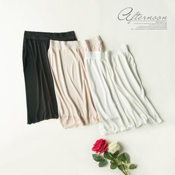 New Summer Natural Silk Kintted UnderSkirt 100% Mulberry Silk Lace Half Slips M L XL FREE SHIPPING
