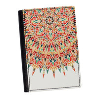 Unique Mandala Geometric Colorful Pattern on White High Quality PU Faux Leather Passport Cover by UltraCases