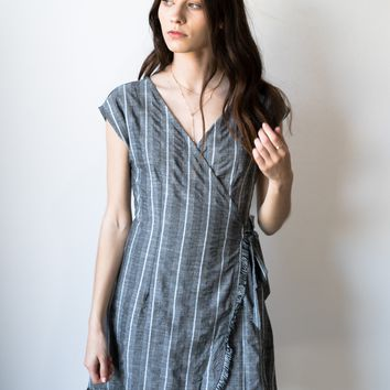 Frayed Edge Wrap Dress